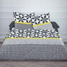 Parure housse de couette 240x220cm + taie 100% coton géométrique noir/blanc GRAFISM Today vente privée