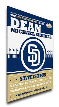 San Diego Padres Personalized Birth Announcement on Canvas - Baby Gift