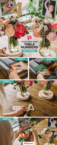 Embrace nostalgia with these wedding photo table numbers! Choose photos of you and your fiancé at ages that correspond to each table number. Check out our Smile blog for the full tutorial!