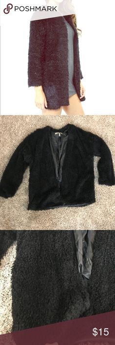 Foreign exchange faux fur jacket fashion coat Good used condition. Fur/fuzzy like. Not real fur. It's actually lightweight. Foreign Exchange Sweaters Cardigans