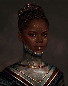 Unless I'm totally wrong, this is Shuri, T'Challa's sister (Black Panther). I put it here to relate to our materials in class and because it is a nice portrait. Black Panther Marvel, Shuri Black Panther, Black Panther Art, Black Girl Art, Black Women Art, Black Girl Magic, My Black Is Beautiful, Black Love, Vinyl Pants