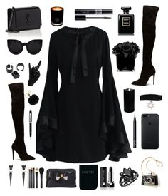 """""""All black"""" by keila-ayala ❤ liked on Polyvore featuring Chicwish, MICHAEL Michael Kors, Alexis Bittar, NARS Cosmetics, Christian Dior, Marc Jacobs, Ted Baker, MAC Cosmetics, Yves Saint Laurent and EB Florals"""