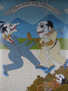 """Tikus Mati ing Lumbung"" / ""Rat Died in the Ricebarn"". Mural at Lempuyangan flyover, Yogyakarta"