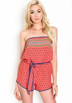 Strapless Printed Romper, ORANGE, large