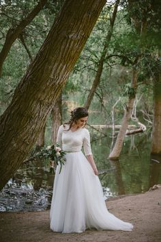 modest wedding dress with half sleeves from alta moda. -- (modest bridal gown) photo by alex adams photo