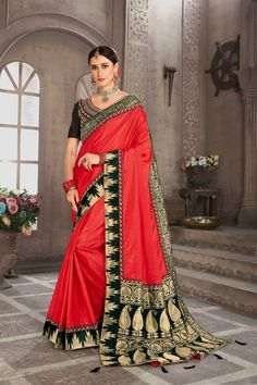 Online shopping for latest collection of designer saree. Buy this spellbinding embroidered, patch border and resham work red designer saree for festival and reception. Indian Bridal Sarees, Indian Designer Sarees, Indian Sarees Online, Trendy Sarees, Fancy Sarees, Party Wear Sarees, Celebrity Gowns, Red Saree, Art Silk Sarees