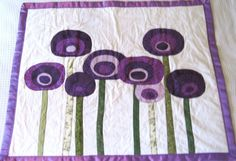 Modern purple poppy quilt with patchwork and applique for baby or toddler - Custom Order