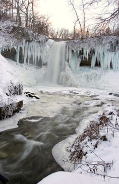 Minnehaha Falls Minnesota in the winter. It gets pretty cold up there!