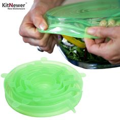 KITNEWERnew 6 pieces Multifunctional Food Fresh Keeping Saran Wrap Kitchen Tools Reusable Silicone Food Wraps Seal Cover Stretch