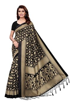 Black Mysore silk saree