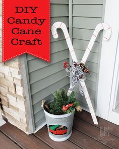 Make this adorable DIY Candy Cane craft using 1 board and 2 tools!  These DIY Candy Canes are the perfect complement to your holiday decorations. | Pretty Handy Girl | #prettyhandygirl #holidaydecor #holidaycraft #christmasdecor #christmascraft #crafttutorial #diy #diyproject #homedecor