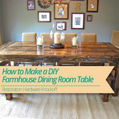 Learn How to Make a #DIY #Farmhouse Dining Room #Table!