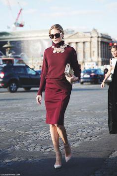 Paris_Fashion_Week SS 15-PFW-Street_Style-Olivia_Palermo-Nina_ricci-Burgundy all over