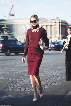 Burgundy Outfit, Olivia Palermo, Paris Fashion week, pencil skirt, PFW, Street Style.
