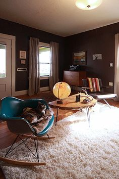 The cat, the color of the eames rocker, the color of the wall--these are good things.