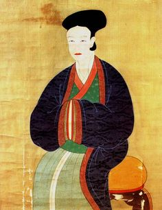 Portrait of Lady Jo Ban (1341-1401). This artwork is believed to be from the late Goryeo Dynasty. 작자미상 (作者 未詳). 비단에 채색. 88.5cm x 70.6cm. 국립중앙박물관 소장