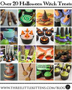 Falloween Pinterest Halloween Treats III - Over 20 Halloween Witch Treats on threelittlekittens.com/blog
