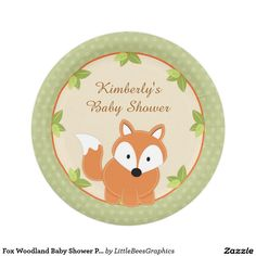 Fox Woodland Baby Shower Paper Party Plates  sc 1 st  Pinterest & Cardstock Inspired Woodland Boy Baby Shower Paper Plate | CUSTOM ...