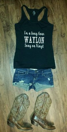 I'm a Long Gone Waylon Song on Vinyl Eric Church women's lyric tank