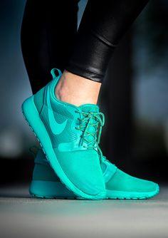 womens nike roshe run hyp blue green