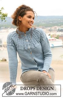 Knitted DROPS jacket with raglan sleeves and cables