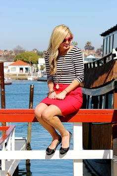 Color Inspiration: Nautical black & white stripe top with red skirt or pants. (Can also use blue and white stripes.)