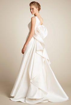 Brides: Giuseppe Papini Camellia V-neck silk mikado wedding dress with beaded belt and sculptural train.