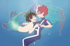 Bnha Mermaid Au/Tododeku - The bright shining sun in the ocean - Wattpad Deku Hero Academia, My Hero Academia Memes, Hero Academia Characters, My Hero Academia Manga, Buko No Hero Academia, Anime Merman, Deku X Todoroki, Hero Wallpaper, Fan Art