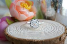 jules  6mm rainbow moonstone CZ halo ring. diamond by lilpengee