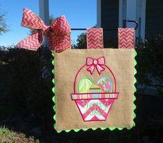 Burlap Garden Flag  Easter Basket by sewgoddesscreations on Etsy, $25.00
