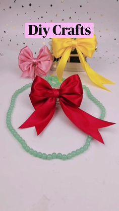 Diy Bow, Diy Hair Bows, Diy Ribbon, Ribbon Crafts, Ribbon Bows, Ribbons, Diy Crafts For Girls, Diy Crafts Hacks, Cute Crafts