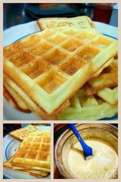 Waffle Americano, Crepes And Waffles, Waffle Bar, Yummy Food, Tasty, Sweet Breakfast, Sweet Bread, Finger Foods, Cooking Time