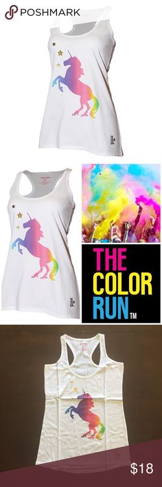 """The Color Run Unicorn Tank Add a show-stopping pop of whimsey to your look with this pure cotton racerback tank that boasts a vibrantly hued Unicorn graphic. Glittering gold stars complete the look. You don't need a Color Run to wear this super cute top!    100% Cotton  Medium- P2P: 16"""", Length: 28""""  Large- P2P: 18"""", Length: 29""""  XL- P2P: 20"""", Length: 30"""" The Color Run Tops Tank Tops"""
