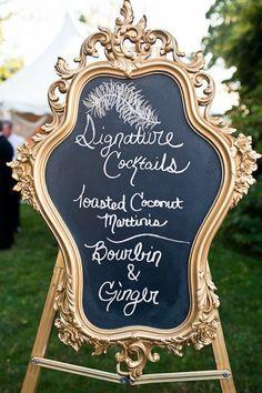 Cocktail hour menu.