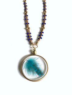 Gold Pendant Necklace Boho Beaded Necklace by FribblePistol