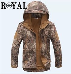 TAD Tactical Men Army Hunting Hiking Fishing Explore Clothes Suit  Camouflage Shark Skin Military Waterproof Hooded e091a6271493