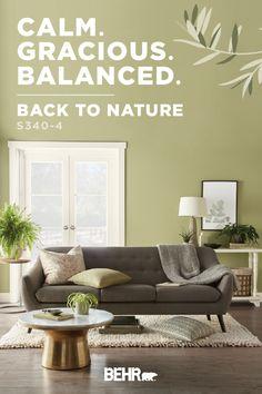 ColorSmart by Behr Paint Color Details Interior Wall Colors, Bedroom Wall Colors, Paint Colors For Living Room, Paint Colors For Home, House Colors, Interior Design, Green Wall Color, Green Paint Colors, Affordable House Plans