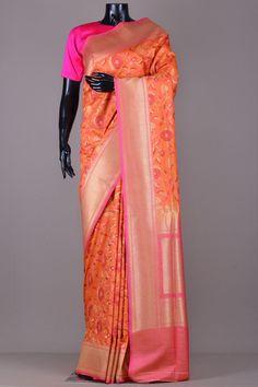 a9811e6c4b Buy Tangelo Orange Zari Woven Banarasi Tussar Silk Saree Online Brocade  Saree, Tussar Silk Saree