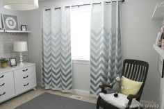 Grey Boys Bedroom Nursery with Ombre Chevron Curtains