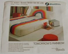 """70s 80s Vintage """"new"""" Wamsutta """"Tommow's Rainbow"""" percale queen ..."""