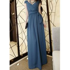 $22.39 Stylish V-Neck Solid Color Beam Waist Cap Sleeve Women's Maxi Dress