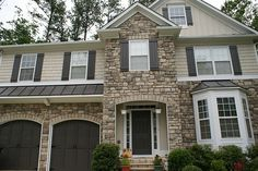 exterior house colors with stone -