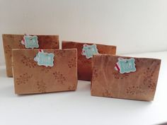 My first swap ever! Brown paper stamped all over, folded into bags, with a de flower bulbs inside.