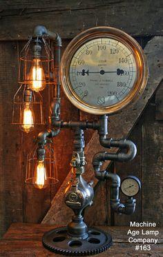 Steampunk Lamp, Steam Gauge Industrail Lighting #163