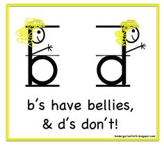 The kids in the class I am working with are having trouble with differentiating between their B and D letters, Heres a cute way to teach them!