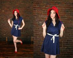 Vintage Sailor Anchor Print  Nautical Babydoll Blue by ontheprowl, $65.00
