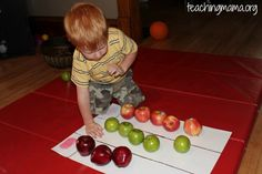 Here is another preschool math idea- count the number of apples and sort them by color.