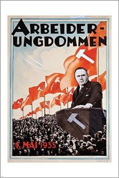 propaganda poster THOR WIBORG WORKING YOUTH POSTER may 1935 POLITICAL 24X36