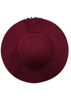 Wine Felt Plait Floppy Hat