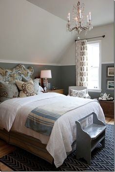 Guest Bedroom with Shades of Blue; two-tone paint separated by chair rail /moulding; Early American hardware on chest ~ Sarah Richardson sarah house guest bedroom blue Farmhouse Master Bedroom, Home Bedroom, Bedroom Ideas, Bedroom Colors, Bedroom Wall, Cottage Bedrooms, Bedroom Chair, Bedroom Modern, Master Bedrooms